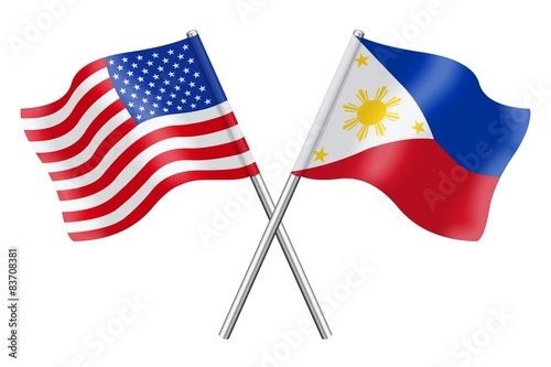 Flags United States Of America And Philippines