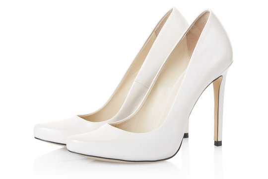 High heel white shoes pair on white, clipping path
