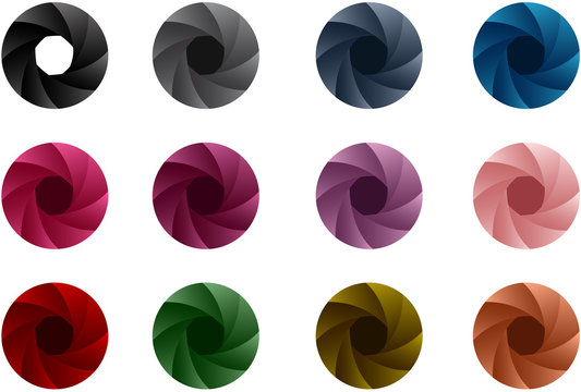 Colorful camera shutter vector on white background