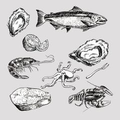 sea food vintage graphic illustration