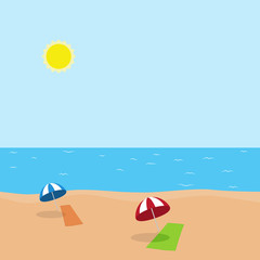 Vector illustration of vacation at sea on beach with towel and