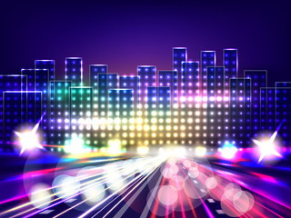 Stylized night city road. Abstract background