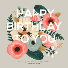 modern birthday floral card