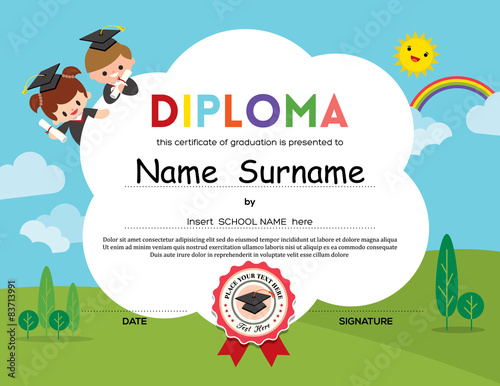 Preschool elementary school kids diploma certificate background preschool elementary school kids diploma certificate background yadclub
