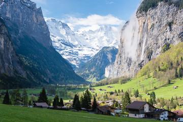Lauterbrunnen valley in the Bernese Alps, Switzerland. Wall mural