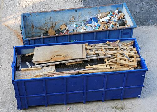 bennes pour déchets de chantier