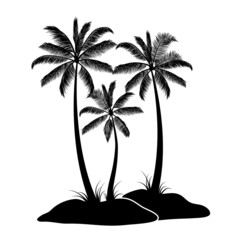 Palm trees on island isolated on white background