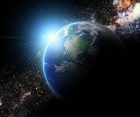 earth and sunbeam in galaxy space element finished by nasa