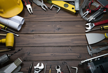 Carpenter Tools on Brown Wood