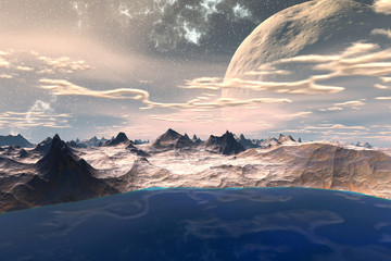 Fantasy alien planet. Rocks and  moon