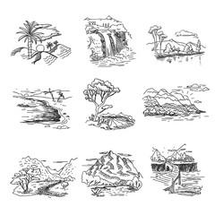 Hand drawn rough draft doodle sketch nature landscape