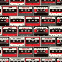 Retro Cassette seamless vector pattern