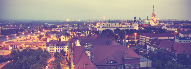 Vintage toned panoramic view of Szczecin.