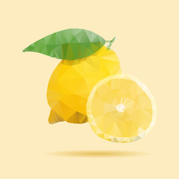 Lemon vector. Low poly triangular style illustration.