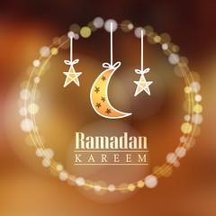 Moon, stars, bokeh lights, Ramadan vector background