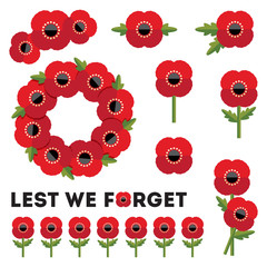 isolated elements red poppies anzac day remembrance day