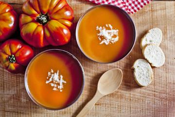 Tomato soup and tomatos.