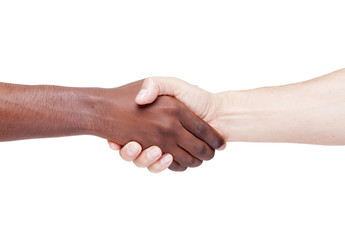Handshake, racism concept, isolated on white background