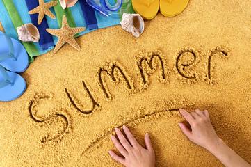 Summer beach vacation message writing