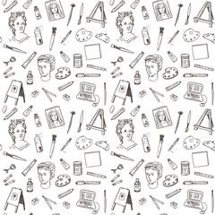Hand drawn doodle artist tools set