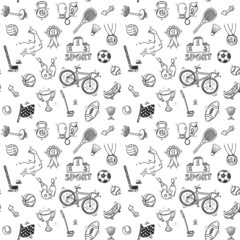 Hand drawn doodle sport seamless pattern