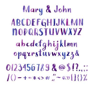 Hand drawn watercolor font