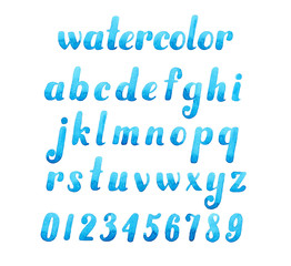 Hand drawn elegant watercolor calligraphic font for your design.