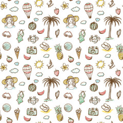 Hand drawn seamless summer vacation background.