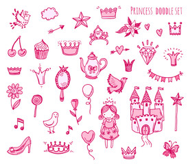 Hand drawn vector illustration set of princess sign and symbol doodles elements.