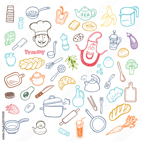 Hand Drawn Cooking And Kitchen Set Stock Image And Royalty Free