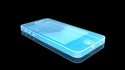 Holographic Wire Frame Smart Phone