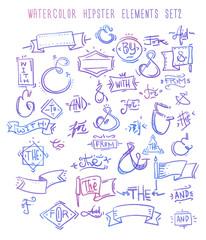 Catchwords, ribbons, ampersands design elements set. at, to, for