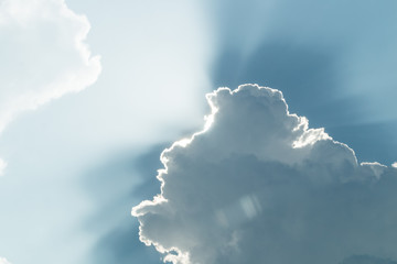 Blue sky and white cloud. rim light.