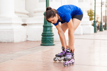 Adjusting my inline skates