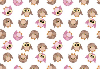 Tileable girlish pattern with cute owls on white