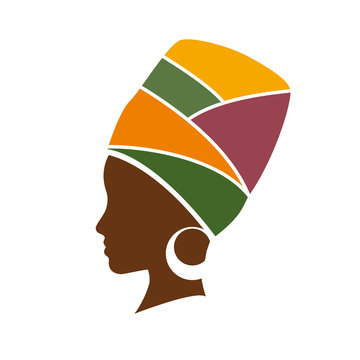Vector profile of african woman with hat