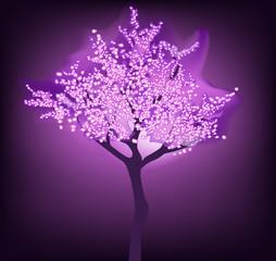 blossoming tree on dark purple background