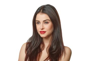Beauty Model Girl Portrait . Beautiful Woman Face. Looking at Ca