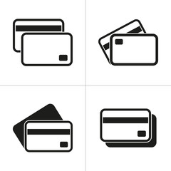 Set of simple icons black credit card on white background.