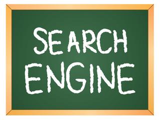 """""""search engine"""" word written on chalkboard"""