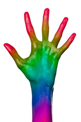 Rainbow hand on white background, isolated, paint