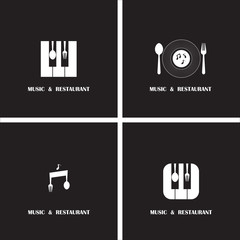 Creative Music and Restaurant icon abstract logo design vector t