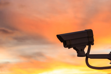 Security CCTV camera with beautiful sunset background