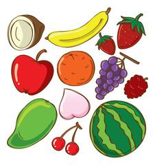 set of fruit doodle