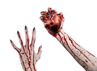 bloody hands with black nails holding bloody human heart
