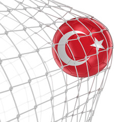 Turkish soccerball in net. Image with clipping path