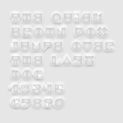 Geometric cutout white font