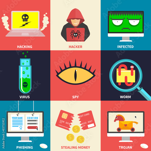 Set of flat modern icons - hacking, hacker, malware