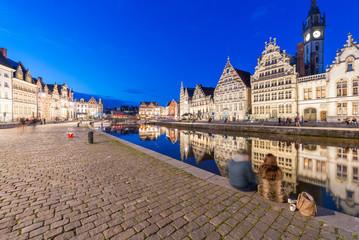 Night colors of Gent architecture, Belgium