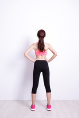 sport woman look and think